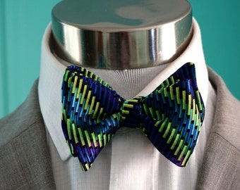 Green and Blue Bowtie, Bow Tie for Men, Self-Tied or Pre Tied Bow Tie, Neon Green and Electric Blue and Purple Pattern