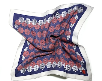 Red, Blue and White Pocket Square,Patterned Silk Pocket Square