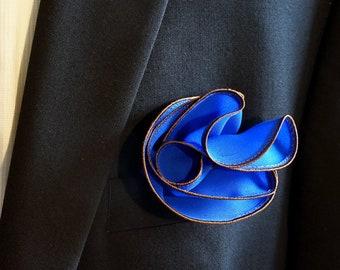 Blue Pocket Square with Brown Edge Border  Wedding Hankerchief  Custom Pocket Round  Groomsman Hankie  Pocket Silk Handkerchief for Man
