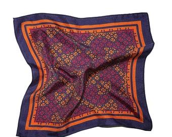 Red and Orange Pocket Square,Patterned Silk Pocket Square