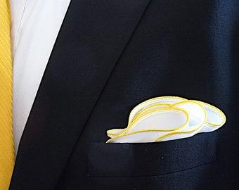 White Pocket Square with Yellow Edge Border Wedding Hankerchief  Custom Pocket Round  Groomsman Hankie  Pocket Silk Handkerchief for Man