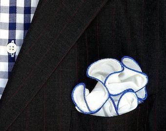 White Pocket Square with Blue Edge Border Wedding Hankerchief  Custom Pocket Round  Groomsman Hankie  Pocket Silk Handkerchief for Man