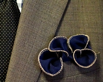 Blue Pocket Round, cream or ivory border, Wedding, Handkerchief, Square, Men, Accessory, Hankie, hanky