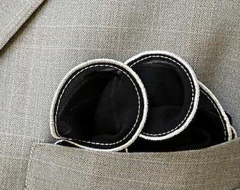 Black Pocket Square with White Edge Border Wedding Hankerchief  Custom Pocket Round  Groomsman Hankie  Pocket Silk Handkerchief for Man