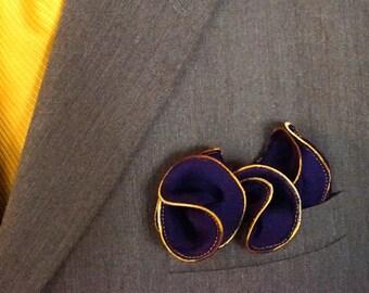 Purple Silk Pocket Square with Gold Edge Border  Wedding Hankerchief  Custom Pocket Round Groomsman Hankie  Pocket Handkerchief for Man