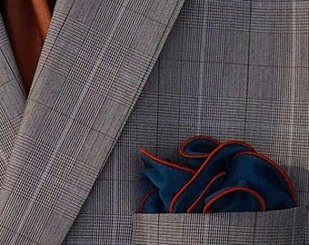 Dark Teal Silk Pocket Square with Bronze Border  Wedding Hankerchief  Custom Pocket Round  Groomsman Hankie  Pocket Handkerchief for Man