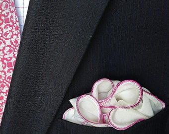 White Pocket Square with Pink Edge Border Wedding Hankerchief  Custom Pocket Round  Groomsman Hankie  Pocket Silk Handkerchief for Man