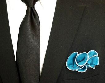 Dark Teal Silk Pocket Square with Gray Edge Border  Wedding Hankerchief  Custom Pocket Round  Groomsman Hankie  Pocket Handkerchief for Man