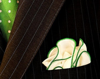 White Pocket Square with Green Edge Border Wedding Hankerchief  Custom Pocket Round  Groomsman Hankie  Pocket Silk Handkerchief for Man