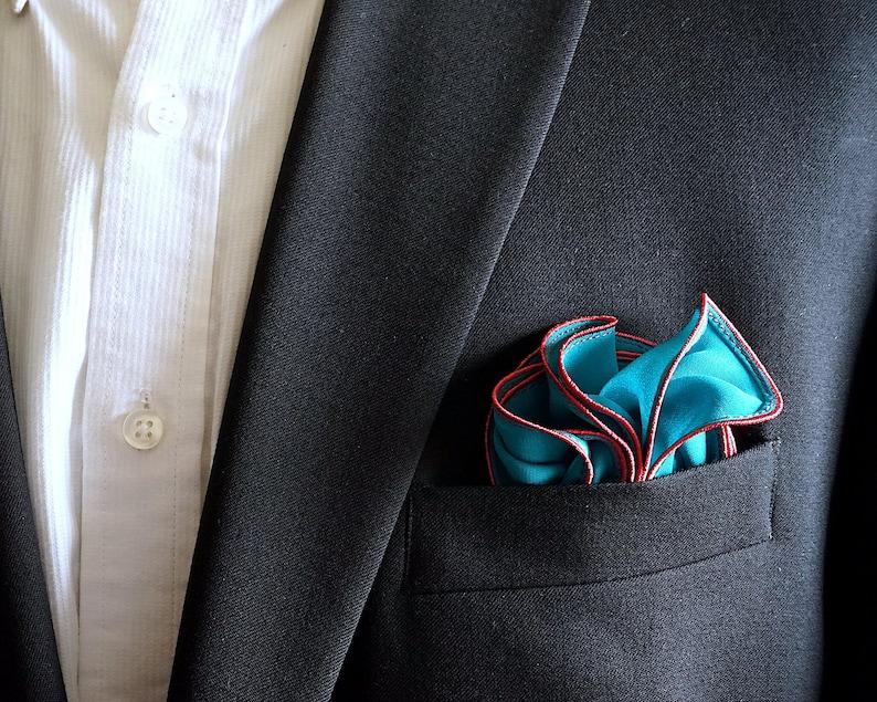 Dark Teal Silk Pocket Square with Coral Edge Border  Wedding image 0