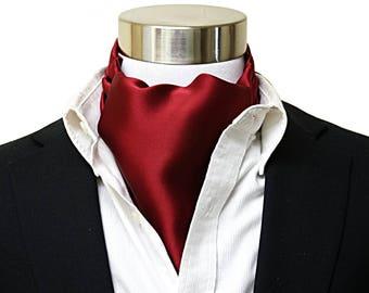 Mens Ascot, Silk Cravat, Red Wine, 100% Silk Charmuese, Ascot for Men