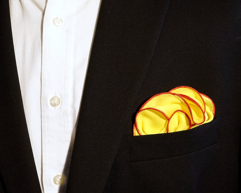 Yellow Pocket Square with Red Edge Border Wedding Hankerchief image 0