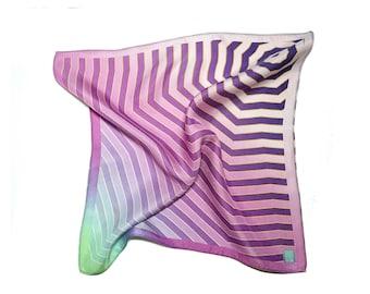 Pastel Lilac and Neon Grenn  Pocket Square, Mens Pocket Square, Silk Pocket Square