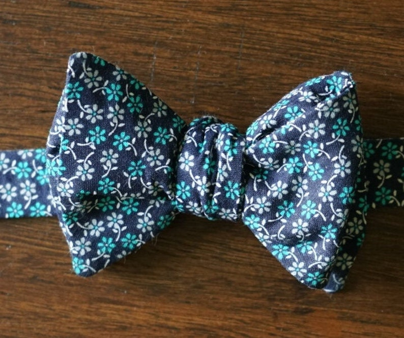 Navy and Teal Floral Bow Tie for Men Pre Tied and Self Tie image 0