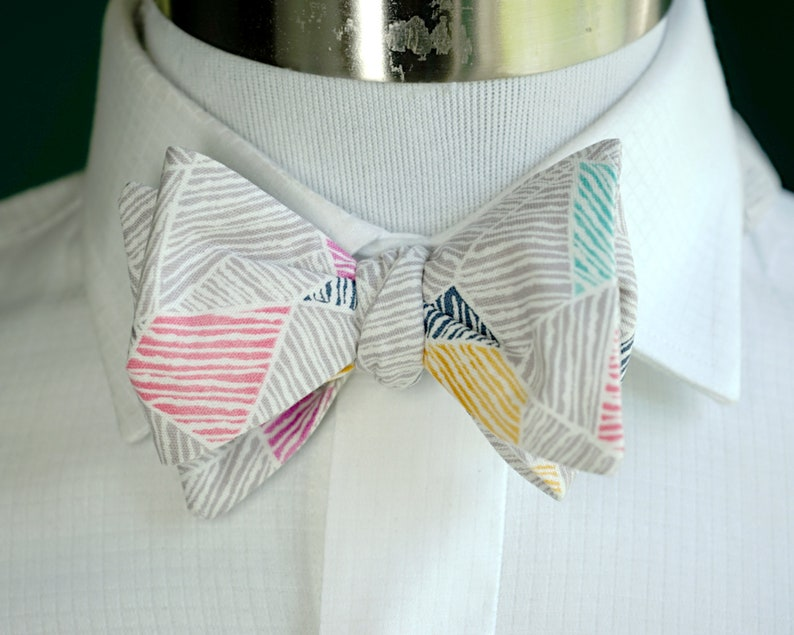 Gray Geometric Bow Tie Self Tie or Pre Tied Bowtie Teal and image 0