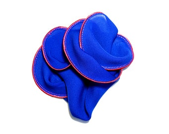 Blue Silk Pocket Square with Magenta Edge Border  Wedding Hankerchief  Custom Pocket Round  Groomsman Hankie  Pocket Handkerchief for Man