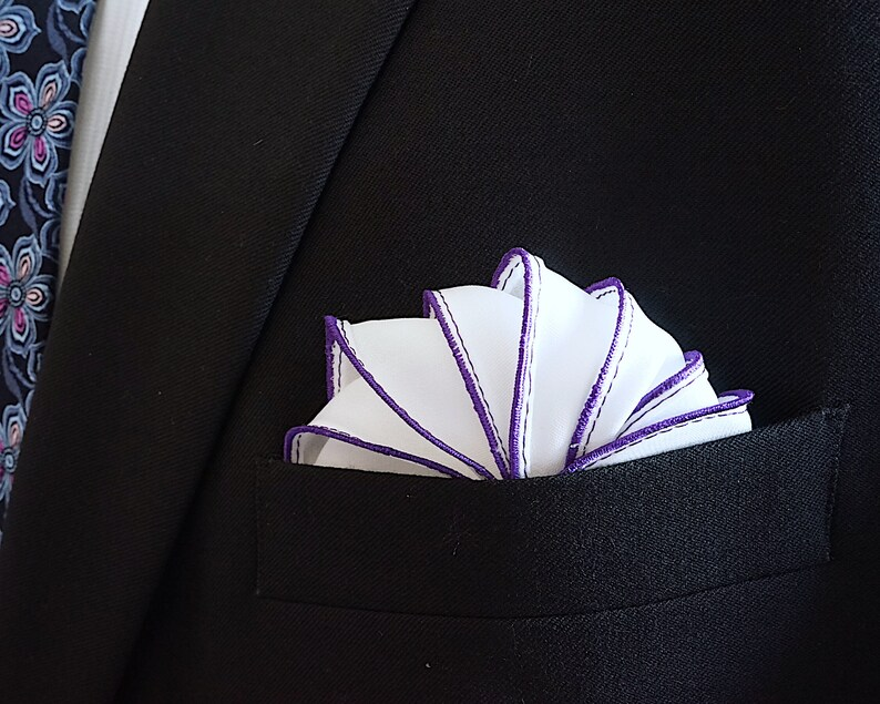 White Silk Pocket Square with Purple Edge Border  Wedding image 0