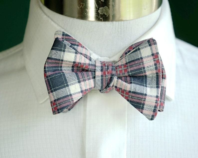 Gray Plaid Bow Tie For Men Self Tie or Pre Tied Bowtie Plaid image 0