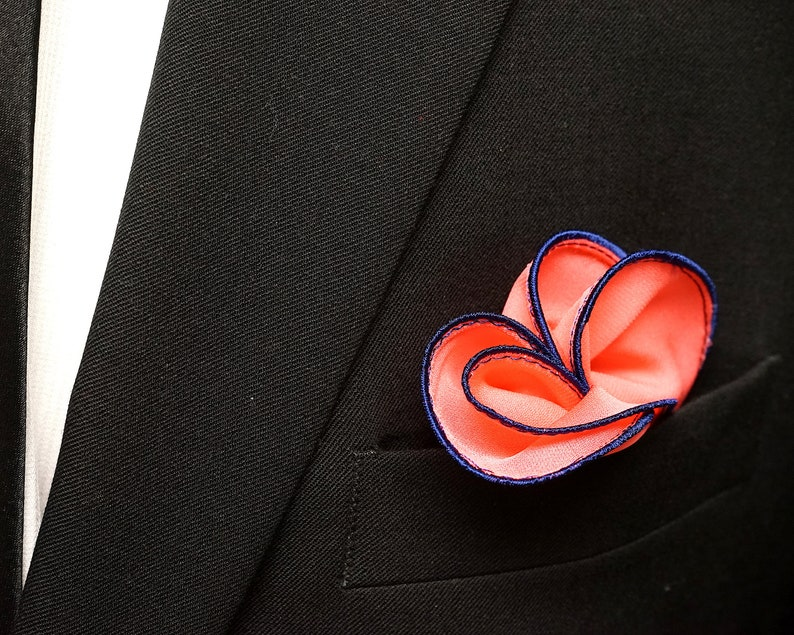 Coral Pocket Square with Navy Blue Edge Border Wedding image 0