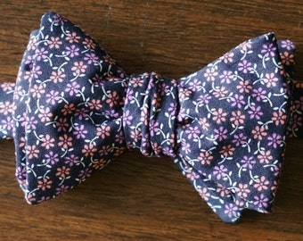 Navy and Pink Floral Bow Tie for Men, Pre Tied and Self Tie Bowtie, Gift for Groomsmen, Wedding Bow tie. with Orange Floral accents