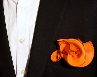 Orange Silk Pocket Square with Red Edge Border  Wedding Hankerchief  Custom Pocket Round Groomsman Hankie  Pocket Handkerchief for Man