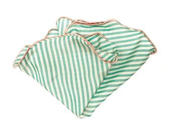 Pocket Square Silk/ Pocket Round/ Silk Handkerchief/ Wedding Handkerchief/ Mens Hankie/ Mint Green/ Light Pink/ Candy Stripes