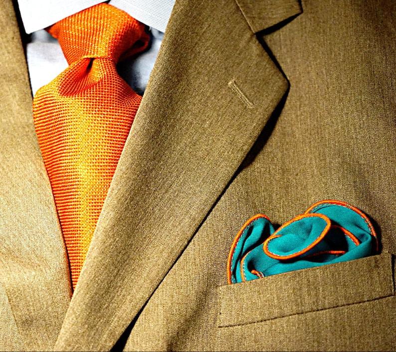 Teal Silk Pocket Square with Orange Edge Border  Wedding image 0