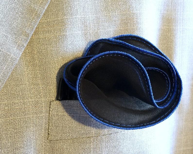 Black Pocket Square with Blue Edge Border Wedding Hankerchief image 0