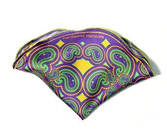 Pocket Square/ Silk Hankies/ Silk Pocket Square/ Wedding Handkerchief/ Purple and Neon Green Handkerchief/ Pocket Round/ Paisley