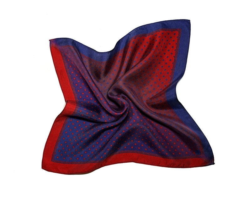 Polka Dot  Pocket Square Mens Pocket Square with Red and Blue image 0