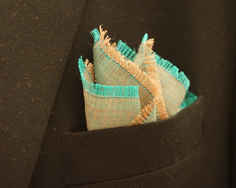 Teal and Tan Pocket Square Linen Handkerchief Teal and Tan image 0