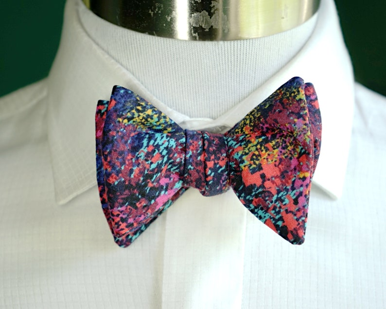 Purple Bowtie Self Tie or Pre Tied Bowtie Multicolor: Teal image 0