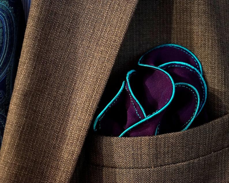 Purple Pocket Square with Teal Edge Border Wedding Hankerchief image 0