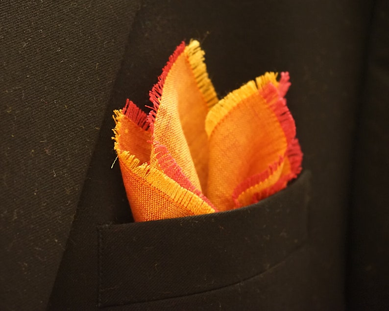 Orange Pocket Square Linen Handkerchief Magenta Red and image 0