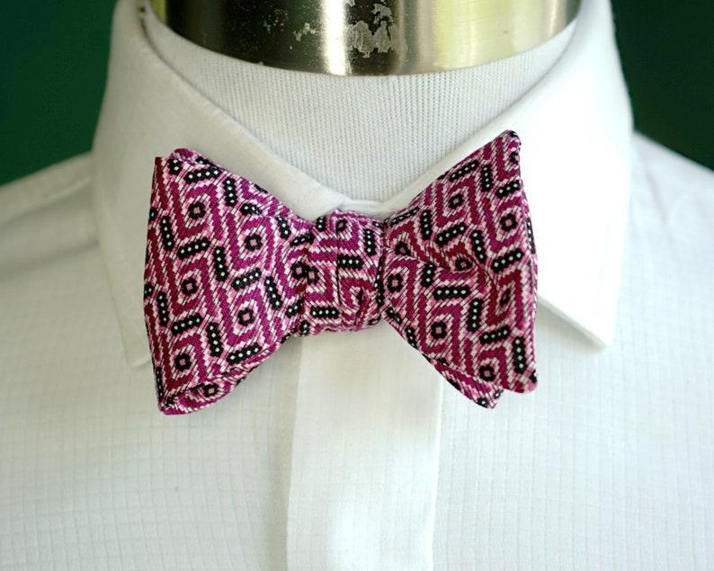 Pink Print Bow Tie Self Tie or Pre Tied Bowtie Magenta and image 0