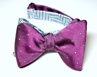 Bow Tie, Self- Tie, Light Blue Chevron Pattern, Magenta and Light Blue Dots, Reversible