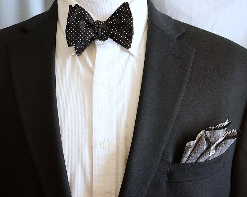 Bow Tie Self Tie Black and White Polka Dot Square Dots image 0