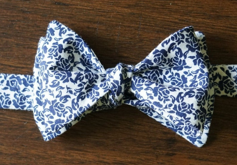 Navy Flower Bow Tie For Men Gift for Boyfriend Available in image 0
