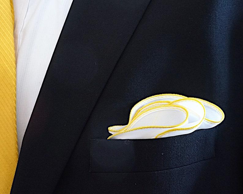 White Pocket Square with Yellow Edge Border Wedding image 0