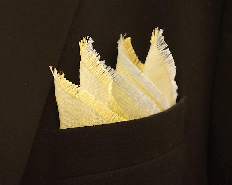 Yellow Green Pocket Square Linen Handkerchief Light Blue and image 0