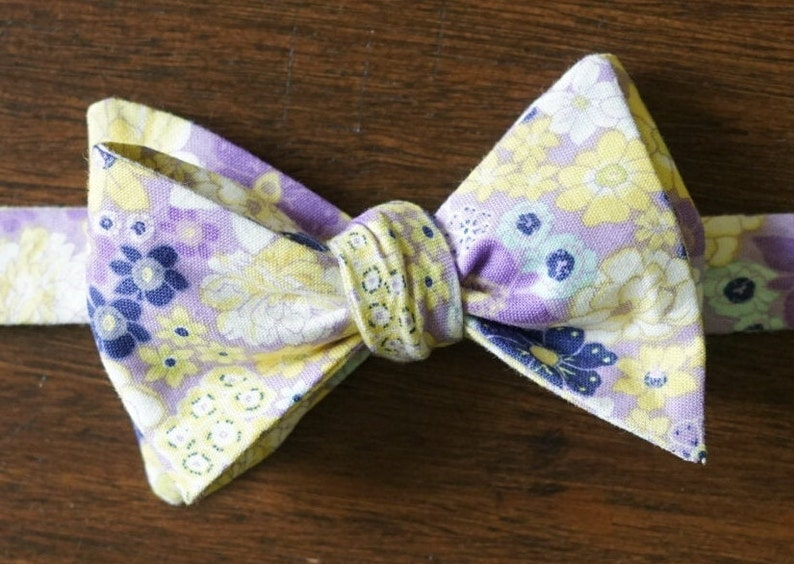 Lavender Garden Floral Bow Tie for Men Gift for Groom image 0
