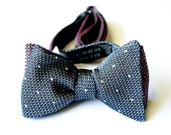 Bow Tie, Self Tie, Dark Pink, Steel Blue and Light Gray Dots, Reversible