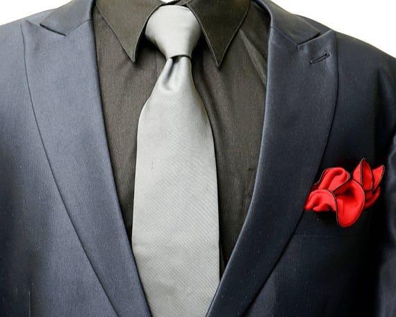 Pocket Square Linen with Black and White Fringed Edges  Gray Pocket Square for Men Handkerchief for Groomsmen Jacket  Wedding Hankerchief