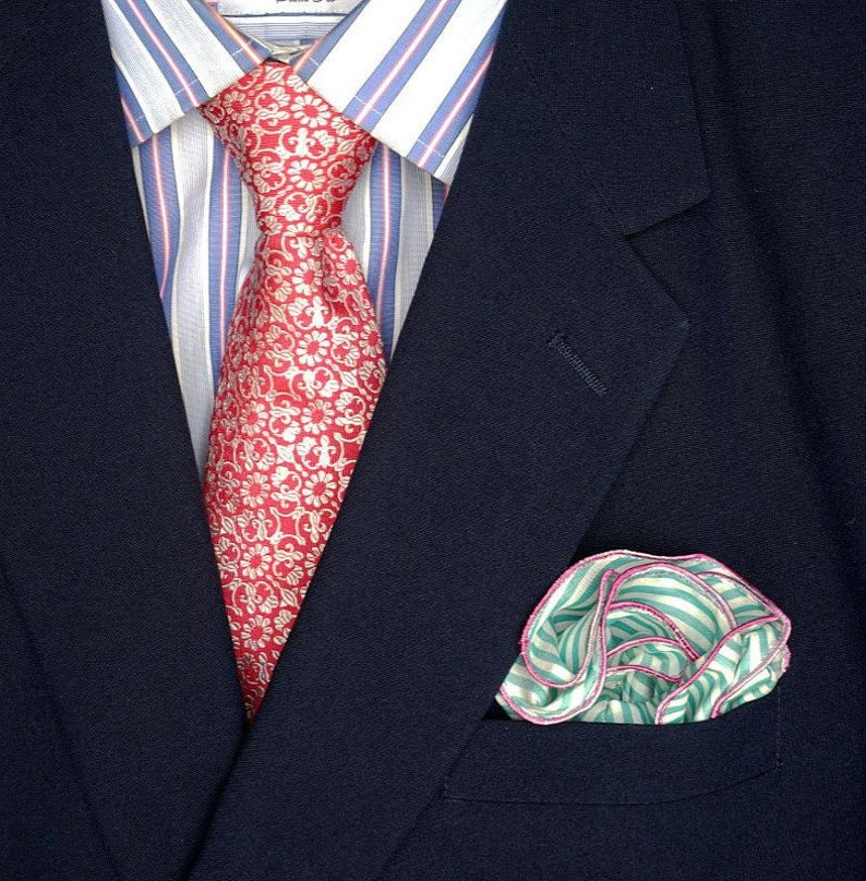 Mint Green white and pink Pocket Round Square Gift Men image 0