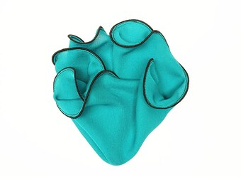 Teal Pocket Square with Black Edge Border  Wedding Hankerchief  Custom Pocket Round  Groomsman Hankie  Pocket Silk Handkerchief for Man