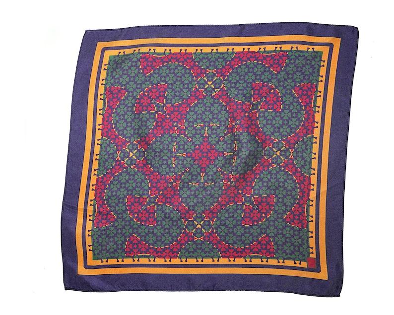 Red and Green Pocket SquarePatterned Silk Pocket Square image 0