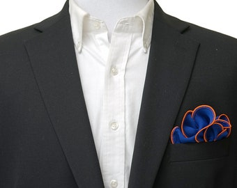 Blue Pocket Square with Orange Edge Border  Wedding Hankerchief  Custom Pocket Round  Groomsman Hankie  Pocket Silk Handkerchief for Man