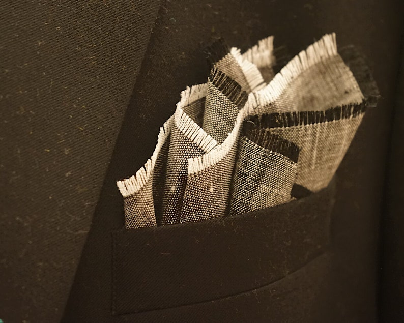 Pocket Square Linen with Black and White Fringed Edges / Gray image 0