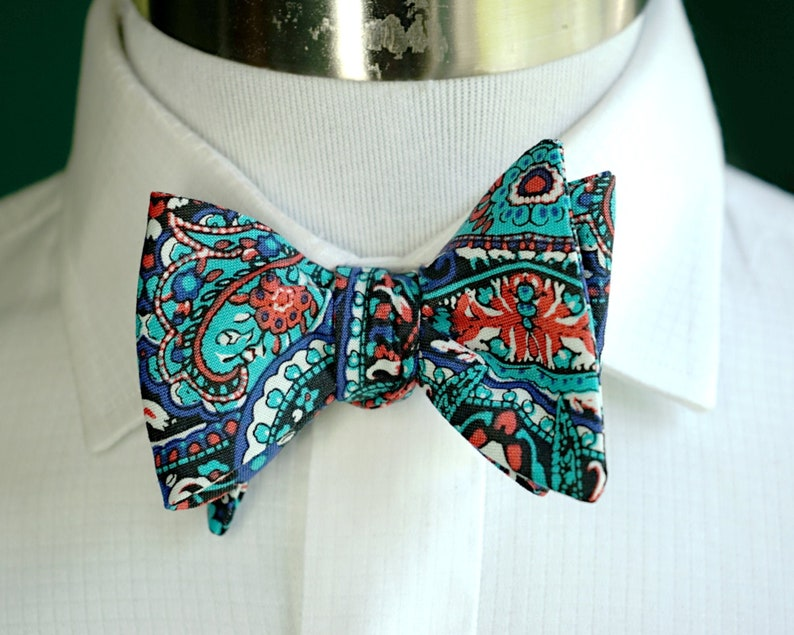 Teal Paisley Bow Tie Self Tie or Pre Tied Bowtie Teal and image 0