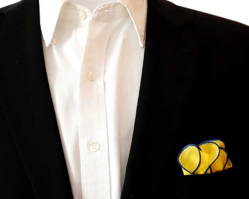 Yellow Silk Pocket Square & Tiffany Blue Edge Border  Wedding image 0